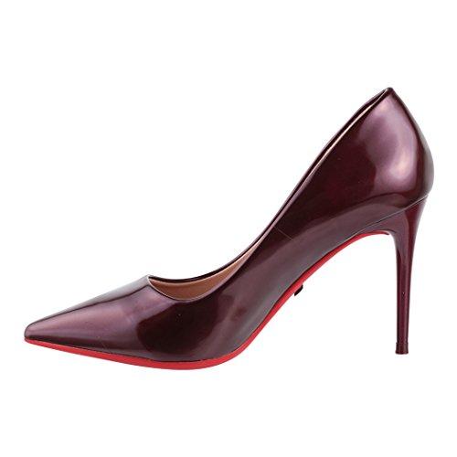 eleganti pump stiletto tacco Paris Wine scarpe con Elara comode con con chunkyrayan tacco a punta UwxgqP8F