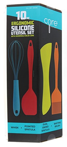 Core Kitchen, Ergonomic Silicone Utensil 10 Pieces Set in Assorted Colors with Overmold Solid Core