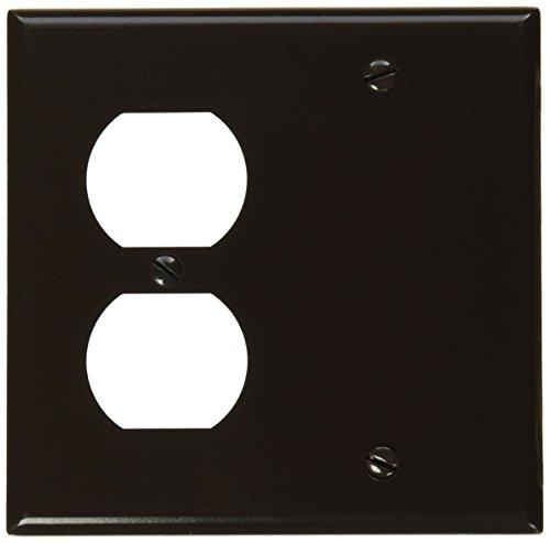 Leviton 85008 2-Gang 1-Duplex 1-Blank Device Combination Wallplate, Standard Size, Thermoset, Box Mount, Brown