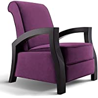 Artiva USA Artiva USA KUTA Solid Wood Java Black Premium Grey Microvelvet Recliner, Royal Purple