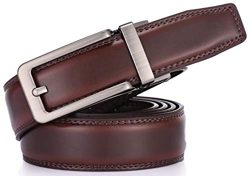 Gallery Seven Leather Ratchet Belt For Men - Adjustable Click Belt - Casual Dress Belt - Mahogany - Style 17 - Adjustable from 38'' to 54'' Waist by Gallery Seven (Image #5)