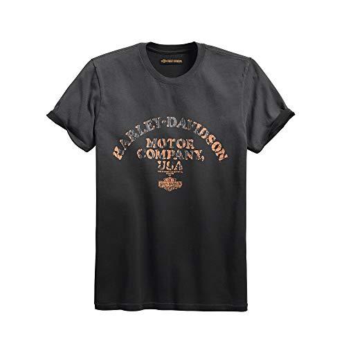 - Harley-Davidson Official Men's Layered Print Slim Fit Tee, Grey (Medium)