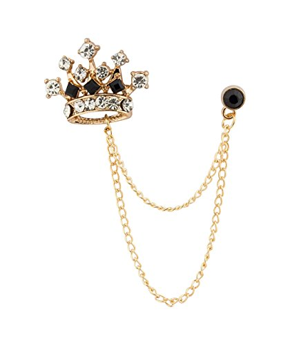 Knighthood Men's Crown Chain Brooch for Men (Gold-Black)