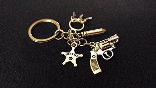 (POLICE SHERIFF FIFE BADGE GUN BULLET CELL KEYS Silver Charm Keychain Unique Gift)