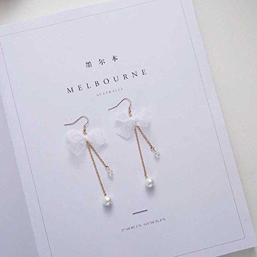 (TKHNE Liu Wei long ten days complex Gulei Si pearl necklace pendant drop ribbon streamers long paragraph tassel earrings earrings super cents)