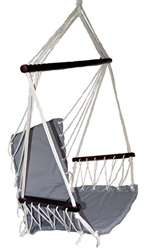 OMNI Patio Swing Seat Hanging Hammock Cotton Rope Chair With Cushion Seat (Gray)