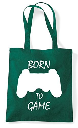 To Plain Gaming Statement Green Shopper Tote Game Born Bag Controller Dark fqRAg