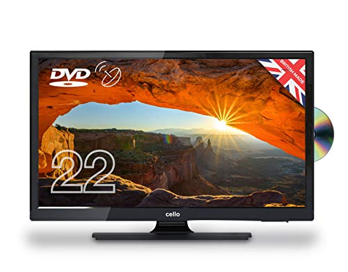Cello 22″ C22230FT2S2 12 Volt LED TV/DVD Freeview HD and Satellite Tuner Made In The UK, Black