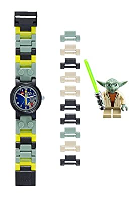 LEGO Star Wars 8020295 Yoda Kids Buildable Watch with Link Bracelet and Minifigure | green/gray | plastic | 25mm case diameter| analog quartz | boy girl | official from LEGO