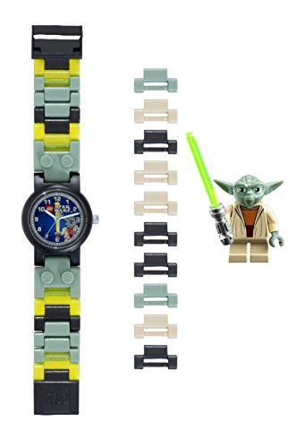 LEGO Star Wars 8020295 Yoda Kids Buildable Watch with Link Bracelet and Minifigure | green/gray | plastic | 25mm case diameter| analog quartz | boy girl | official