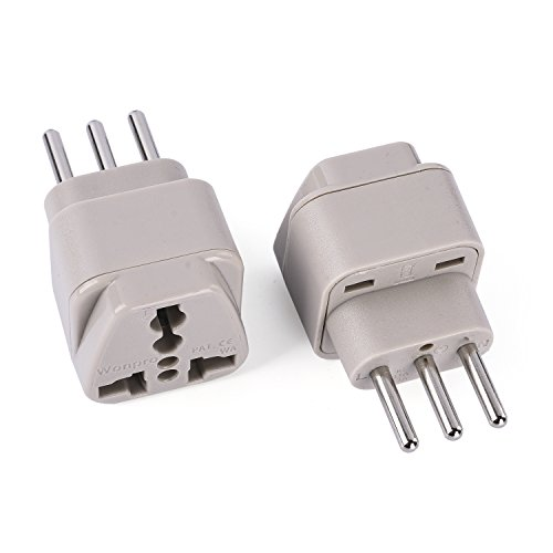 Wonpro Grounded Travel Plug Adapter Type L for Italy, Chile, Uruguay - CE Certified - 2 Pack
