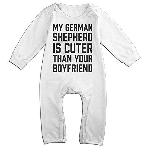 Baby Infant Romper My German Shepherd Is Cuter Than Your Boyfriend Long Sleeve Jumpsuit Costume White 24 (Toddler Shepherd Boy Costume)