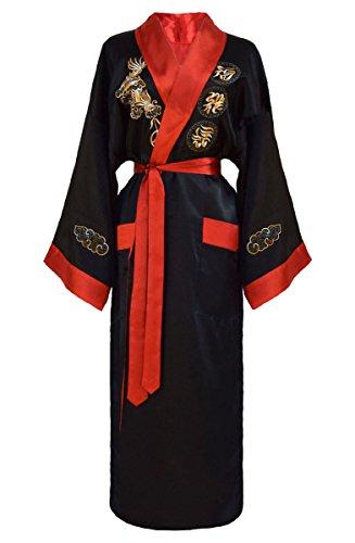 Kimono japonés mujer negro y rojo bata reversible negro y rojo