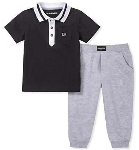 Calvin Klein Baby Boys 2 Pieces Polo Pants Set