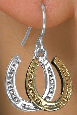 [Two-Tone Double Horseshoe Earrings] (Horse Costume Class)