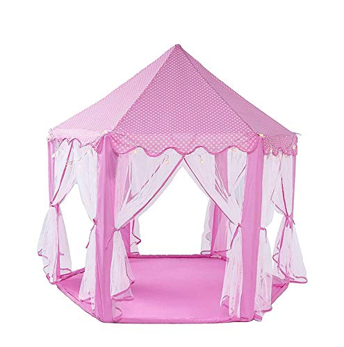 WoneNice Pink Princess Castle Play Tents,Large Playhouse with Led Star String Lights, Perfect Indoor and Outdoor for Girl- 55x 53(DxH)