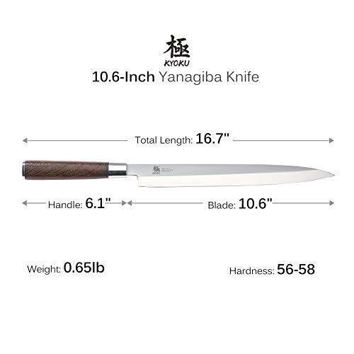 KYOKU Samurai Series - 10.5'' Yanagiba Knife Japanese Sushi Sashimi Knives - Superior Japanese Steel - Wenge Wood Handle - with Sheath & Case by KYOKU (Image #3)
