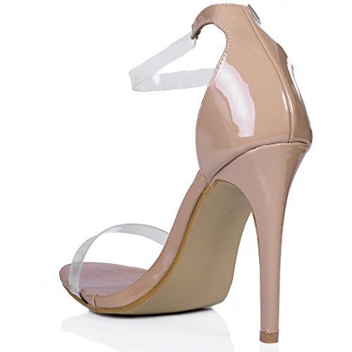 SPYLOVEBUY MISRI Damen Peep-Toe High Heel Stilettoabsatz Sandalen Schuhe Pumps Beige - Synthetik Lack
