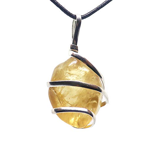 - Citrine Gemstone Pendant Necklace - Natural Crystal Healing | Stone of Joy, Wealth and Abundance| Energizes Solar Plexus and Navel Chakras| Jewelry for Men & Women