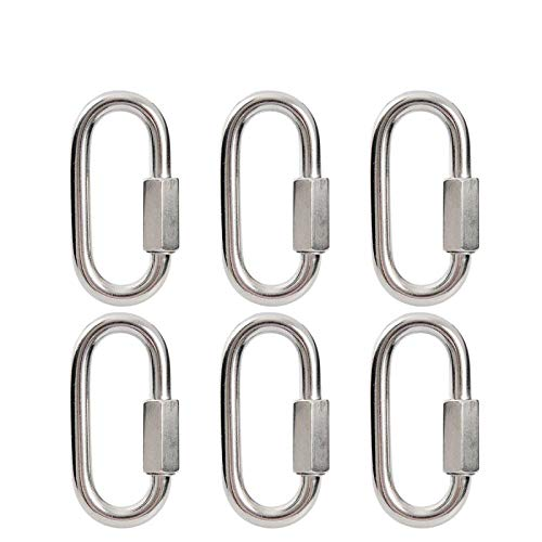 Quick Link Chain Connector, Surlan Stainless Steel M6 D Shape Locking Carabiner Connector Keychain Ring Buckle Pack of 6pcs