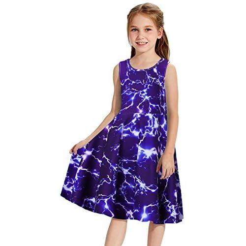 Goodstoworld Girls Sleeveless Summer Casual Swing Dresses Mermaid Unicorn Dress School Party Beach Sundresses 4-13 Years