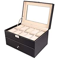 GAIBO 20 Slot Leather Watch Box, Case Organizer with Glass Top, for Display Jewelry Storage Black