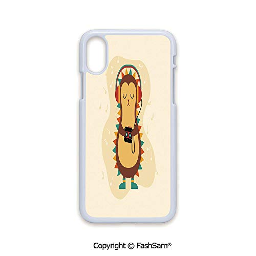 - Phone Case Compatible with iPhone X Black Edge Animal with Spikes Listening Music from Its Retro Cassette Player Vintage Inspired 2D Print Hard Plastic Phone Case