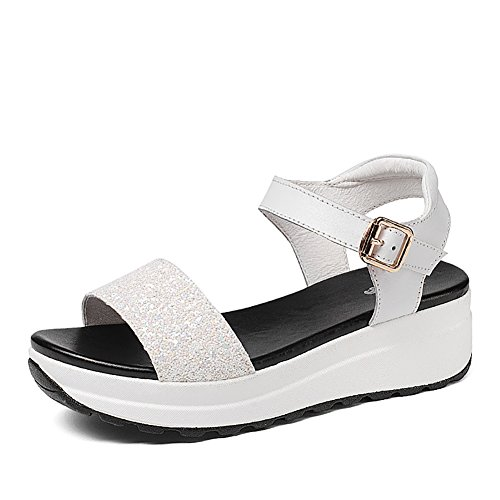 Sandals ZCJB Summer Flat Women's Shoes Leather Flat Heel Muffin Student Slope Thick Bottom Open Toe Shoes White 6k3qlQrl