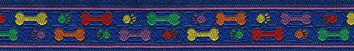 3/8 Inch Rainbow Paws and Bones Jacquard Ribbon Closeout, 3 Yards