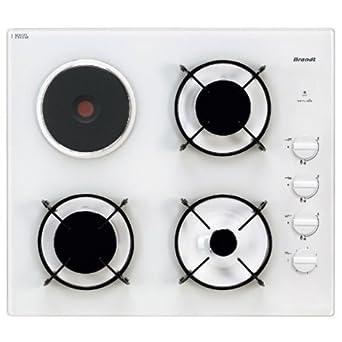 Brandt Tg 1013 W Table De Cuisson Mixte Electrique Et Gaz 60 Cm Blanc