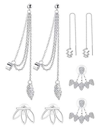 Adramata 4 Pairs Lotus Flower Earrings for Women Girls Tassel Threader Dangle Earrings Set