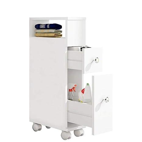 ease Mueble de baño con Ruedas con 2 cajones Carro de Almacenamiento de Cocina de Madera