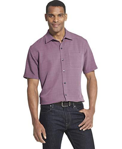 Van Heusen Men's Big and Tall Air Short Sleeve Button Down Grid Shirt, Purple Hortensia, - Grid Casual Shirt Mens