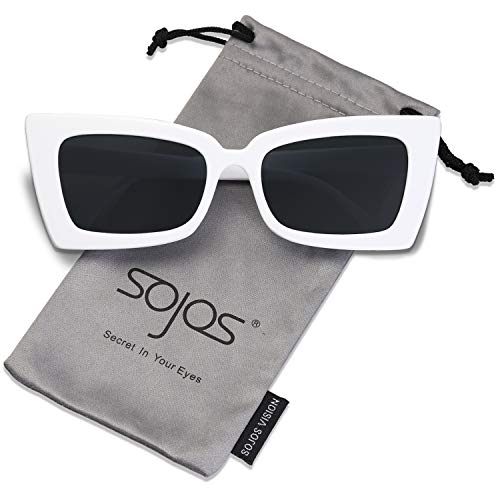 - SOJOS Vintage Square Sunglasses for Men and Women Plastic Frame SJ2066 with White Frame/Grey Lens