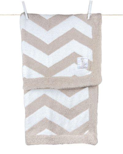 "Little Giraffe Feather Yarn Dolce Chevron Blanket, 29"" x 35"" - Flax"