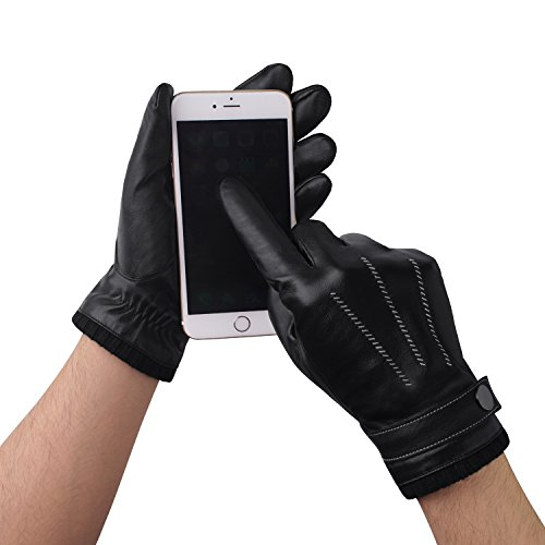 GSG Mens Luxury Full Palm Touchscreen Spain Nappa Leather Gloves Driving Hi-tech Texting Motorcycle Winter Warm Faux Fur Gloves Black 9.5 by GSG