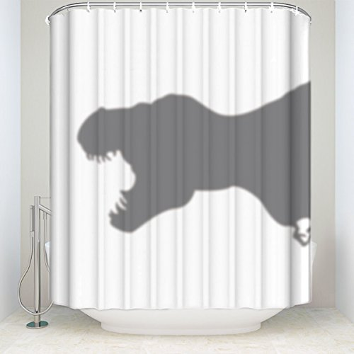 Crystal Emotion Animal Shower Curtain Scary and Funny Dinosaur Silhouette Shadow Print Bathroom Decor Polyester Fabric Shower Curtains with Hooks 72