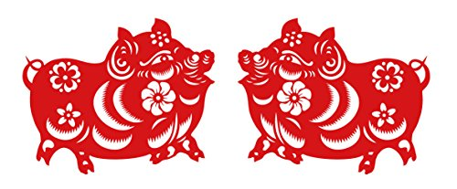 Chinese Paper-cut Art for Lucky Pig, Jian Zhi, Chinese New Year Decorations, Chinese Grilles,Vinyl Decal Sticker, Red (each Pig is 8 inches)