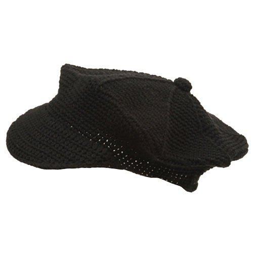 Rasta/NYE Crocheted Newsboy Hats(02)-Black ()