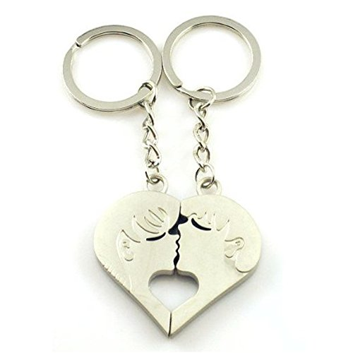 4EVER Piece Love Heart Shape Deep Kissing Lovers Couples Keychains (With Gift Box and Greeting Card) Bag Key Rings for Valentine's Day Wedding Anniversary Gifts (A Pair)