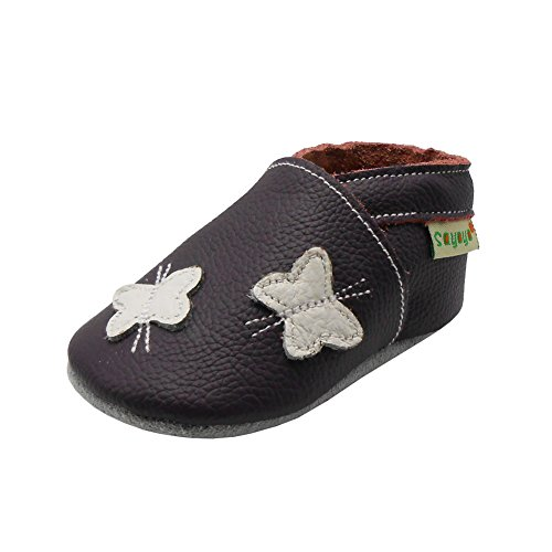 Sayoyo Baby Butterfly Shoes Soft Leather Sole Infant Toddler Prewalker Shoes (6-12 months, Purple)