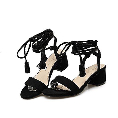 Schwarz Ferse Damenmode Lace Schuhe Up Mee Block Sandalen Shoes Hxp75q5wX8
