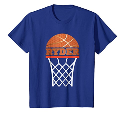 Kids Basketball Apparels | Boy Custom Name Ryder, Youth T Shirt 4 Royal (Custom Youth Anvil)