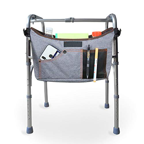 Multi-Purpose Walker Bag, Third Hand Wheelchair Storage Organizer Pouch, Utility Accessory Basket, Attached Tote Caddy for Elderly, Seniors, Handicap and Disabled (HZC139-G)