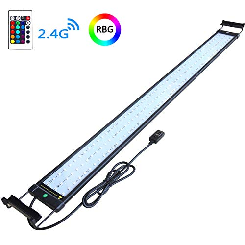 COODIA Aquarium Hood Lighting Color Changing Remote Controlled Dimmable RGBW LED Light for Aquarium/Fish Tank, Extendable (for Fresh and Salt Water) (46-54inch)