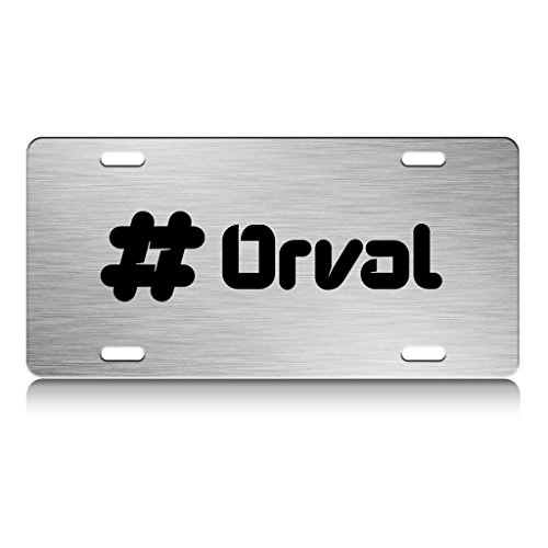 orval-male-name-metal-license-plate-frame-chrome