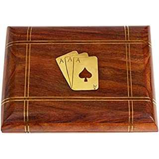 Aheli Handmade Wooden Box Playing Cards Holder Travel Game Set Case with Brass Inlay Mango Wood Decorative Storage Box Play Card Organizer for Holding 2 Decks Gifts for Adults