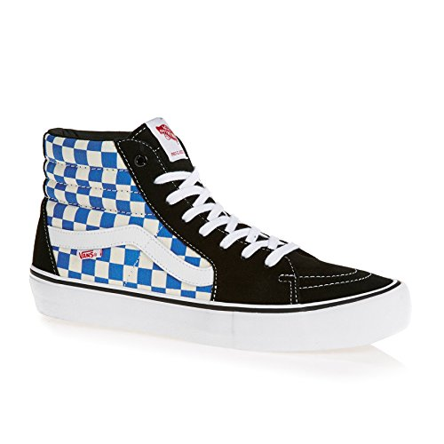 Vans Men's Sk8-Hi Pro Ankle-High Canvas Skateboarding Shoe, (Checkerboard) Black/Victoria Blue, 11 D US