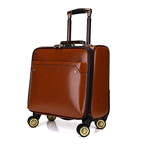 18 Pulgadas PU Travel Carry On Hand Cabin Equipaje Maleta con 4 Ruedas, Compartimiento para Laptop Trolley Bag, Aprobado para Ryanair, Easyjet, ...