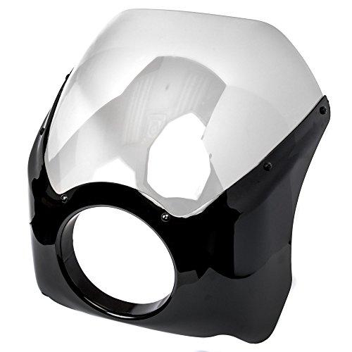 Krator Black & Clear Headlight Fairing Windshield Kit for Harley Davidson Dyna Super Glide Sport (Windshield Sport Super)